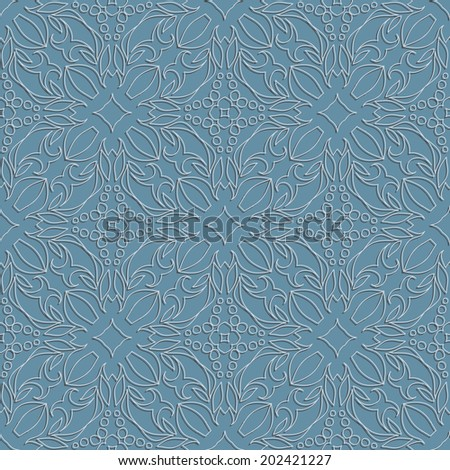 Embossed fabric seamless oriental pattern steel color - stock photo