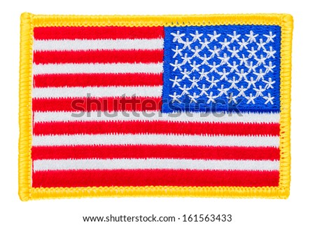 Embroidered American flag isolated over white background - stock photo