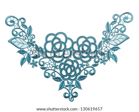 Embroidered lace trim isolated white. Fabric texture. Close up - stock photo