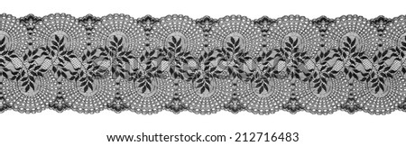 Embroidered Lace Trim Ribbon, Needlework Border, Embroidered Fabric Pattern, Isolated Over White Background - stock photo