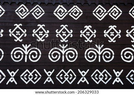embroidery pattern used in traditional in village of Cicmany, UNESCO World Heritage Site, Slovakia - stock photo