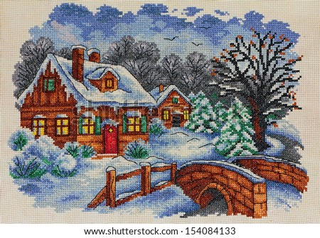 "Embroidery ""Winter landscape"" - my own work - handmade cross stitch - stock photo"