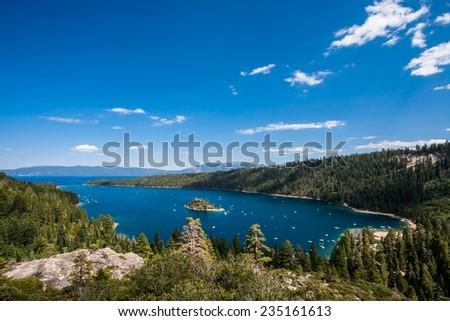 Emerald Bay during summer at Lake Tahoe, California / Nevada. - stock photo