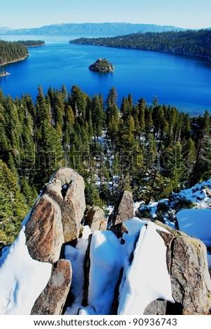 Emerald Bay Lake Tahoe in Winter - stock photo
