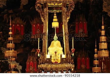 Emerald buddha of Wat Phra sri rattana sasadaram at night in Grand palace Bangkok, Thailand. - stock photo