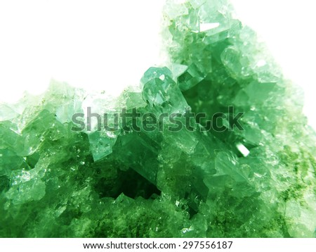 emerald gem geode crystals geological mineral isolated  - stock photo