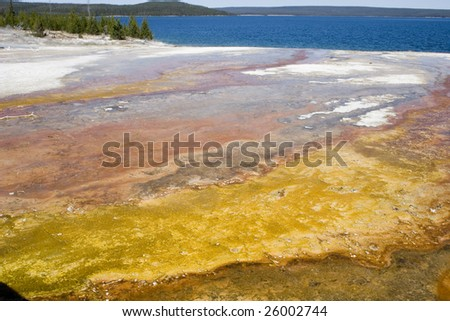 Emerald hot springs in Yellowstone National Park - stock photo
