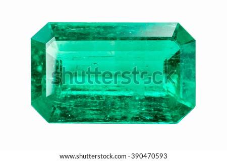 Emerald isolated on white background - stock photo