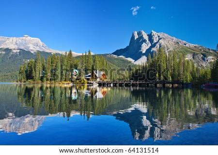 Emerald Lake, Alberta, Canadian Rockies - stock photo