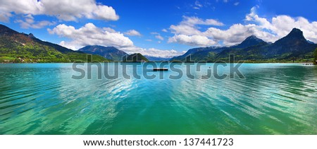 Emerald lake -amazing nature of Alps, st.Wolfgang. Austria - stock photo