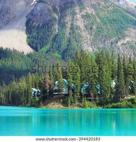 Emerald lake and Rocky Mountains landscape (Yoho National park. Alberta. Canada).  - stock photo