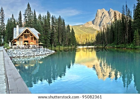 Emerald Lake and Tea House, Near Field, British Columbia, Yoho National Park, Canada Mount Burgess can be seen reflected into the water. - stock photo