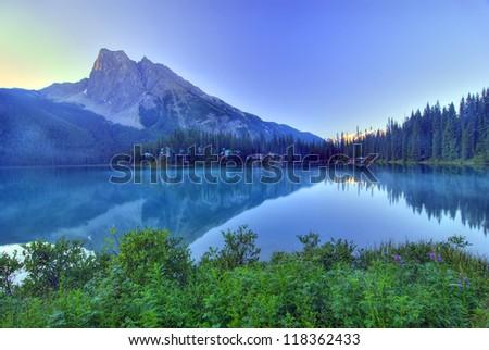 Emerald Lake Reflection, Yoho, Canadian Rockies - stock photo