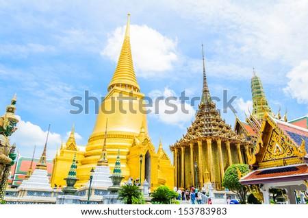 Emerald temple landmark of Bangkok Thailand - stock photo