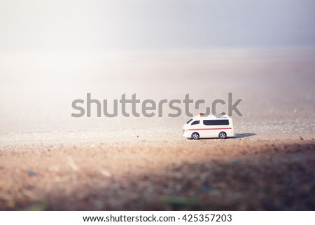 Emergency ambulance,with copy-space for text and color toned. - stock photo