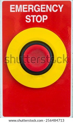 Emergency and stop button on red background.  Red emergency button.  - stock photo