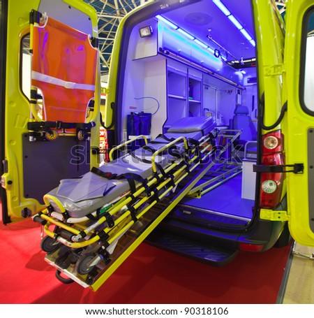 Emergency car, open rear doors - stock photo