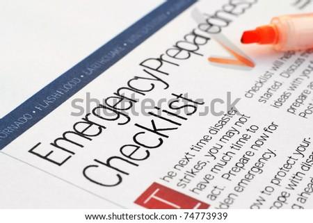 Emergency checklist - stock photo