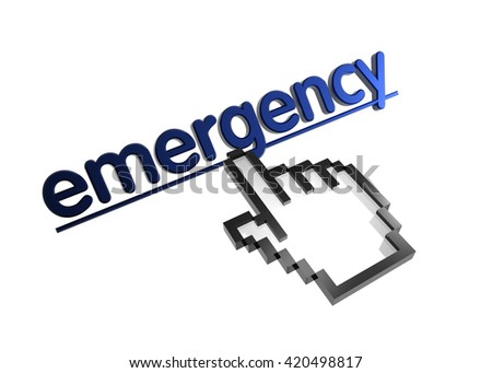 emergency. 3d rendered inscription. Link and finger, pointer. Isolated on white - stock photo