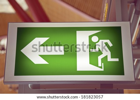 Emergency Exit on the Baraja airport in Madrid - stock photo