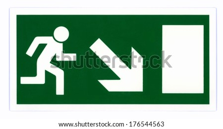 Emergency exit sign isolated on white with clipping path. Photo based, not an illustration. - stock photo