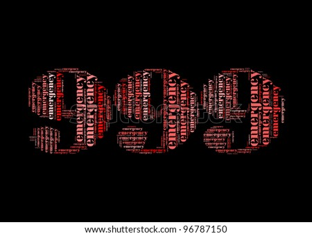 emergency info-text graphic and arrangement concept on 999 shape - stock photo
