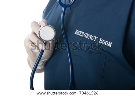 Emergency room doctor or nurse close up with stethoscope pointed at viewer - stock photo