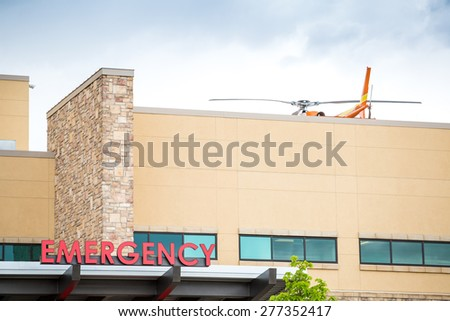 Emergency sign leading to the hospital  - stock photo