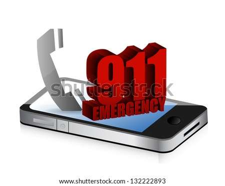 Emergency smartphone call illustration design over a white background - stock photo