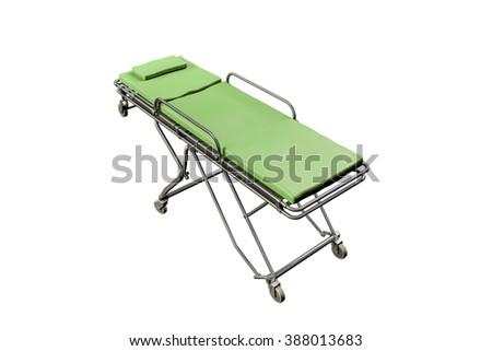 emergency stretcher isolated on white background - stock photo