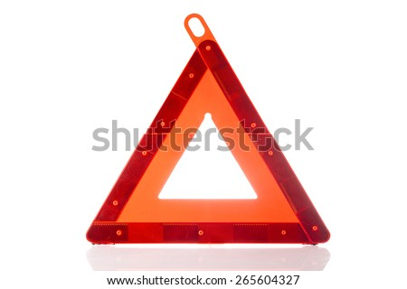 emergency triangle isollated on white - stock photo
