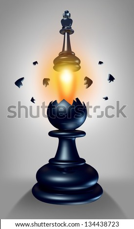 Emerging leadership and the power within to lead in business as a chess game king figurine breaking out of a pawn as a concept for success and aspirations to excel to a your full potential. - stock photo
