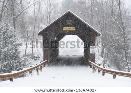 Emilys covered bridge, Stowe, Vermont, USA - stock photo