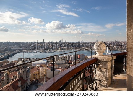 Eminonu from Galata Tower - stock photo