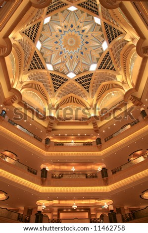 Emirates Palace interior Gold Drawing Painting - stock photo
