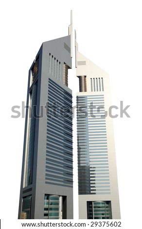 Emirates Towers isolated over white background. Dubai, United Arab Emirates - stock photo