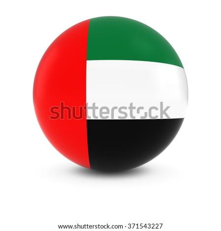 Emirati Flag Ball - Flag of the United Arab Emirates on Isolated Sphere - stock photo