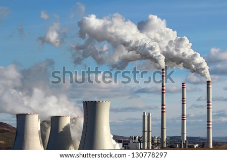emission from coal power plant - stock photo