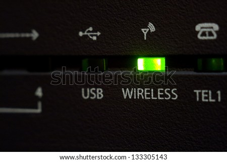 Emitting diode wireless on internet cable modem - stock photo