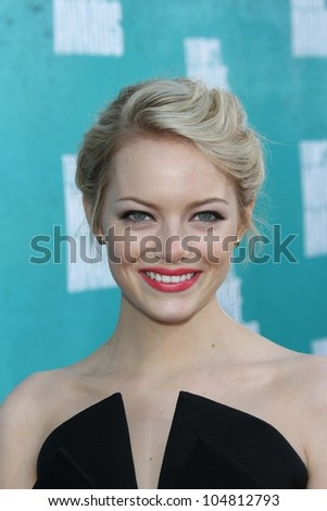 Emma Stone at the 2012 MTV Movie Awards Arrivals, Gibson Amphitheater, Universal City, CA 06-03-12 - stock photo