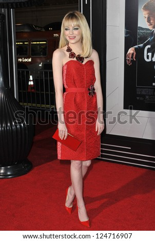 "Emma Stone at the world premiere of her movie ""Gangster Squad"" at Grauman's Chinese Theatre, Hollywood. January 7, 2013  Los Angeles, CA Picture: Paul Smith - stock photo"