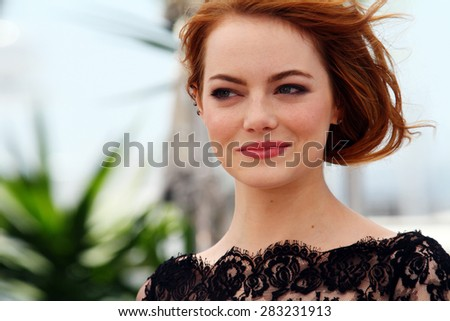 Emma Stone, attends the 'Irrational Man' photocall during the 68th annual Cannes Film Festival on May 15, 2015 in Cannes, France. - stock photo