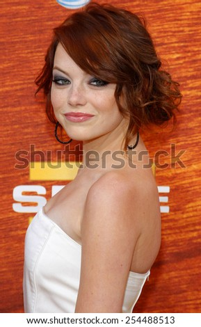 """Emma Stone attends the Spike TV's 2nd Annual """"Guys Choice"""" Awards held at the Sony Pictures Studios in Culver City, California, United States on May 30, 2008. - stock photo"""