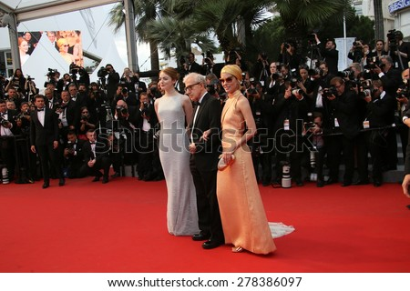 Emma Stone, Woody Allen, Parker Posey attend the Premiere of 'Irrational Man' during the 68th annual Cannes Film Festival on May 15, 2015 in Cannes, France. - stock photo