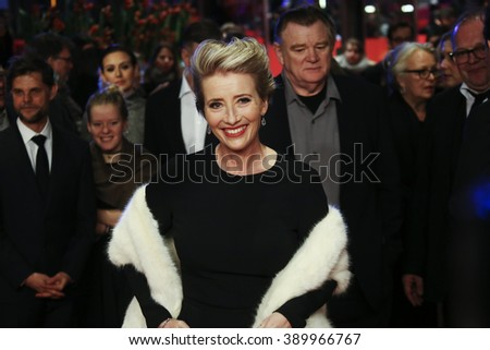 Emma Thompson attends the 'Alone in Berlin' (Jeder stirbt fuer sich) premiere during the 66th Berlinale Film Festival Berlin at Berlinale Palace on February 15, 2016 in Berlin, Germany. - stock photo
