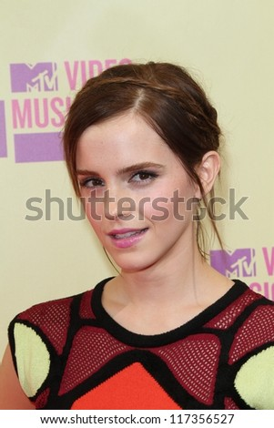 Emma Watson at the 2012 Video Music Awards Arrivals, Staples Center, Los Angeles, CA 09-06-12 - stock photo