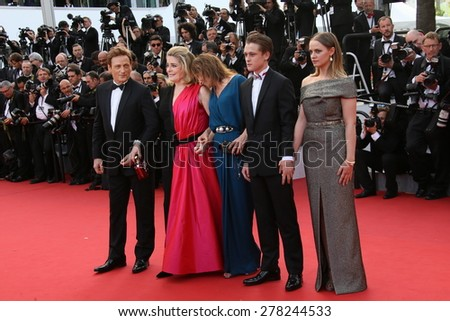 Emmanuelle Bercot, Catherine Deneuve and Benoit Magimel attend the opening ceremony and 'La Tete Haute' premiere during the 68th annual Cannes Film Festival on May 13, 2015 in Cannes, France. - stock photo
