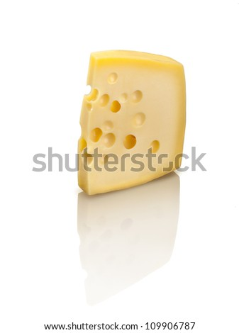 Emmental cheese with holes, isolated on white background. - stock photo