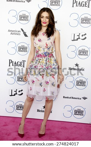 Emmy Rossum at the 2015 Film Independent Spirit Awards held at the Santa Monica Beach in Santa Monica on February 21, 2015.  - stock photo