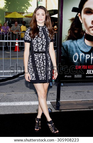 Emmy Rossum at the Los Angeles premiere of 'Orphan' held at the Mann Vilage Theater in Westwood, USA on July 21, 2009. - stock photo